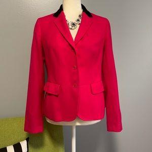 Talbots Pink Wool Blazer with Black Velvet Collar